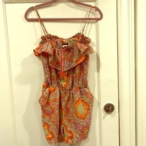 J Crew romper with paisley print and pink zipper